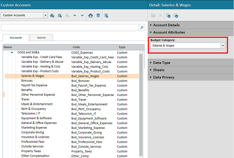 Custom Accounts that is equivalent to your Budget Categories
