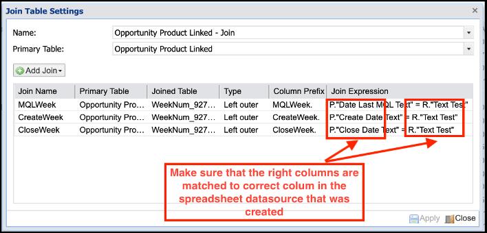Adaptive - Design Integration - Join Table settings