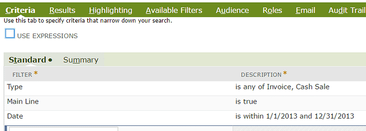Decode function sample search criteria