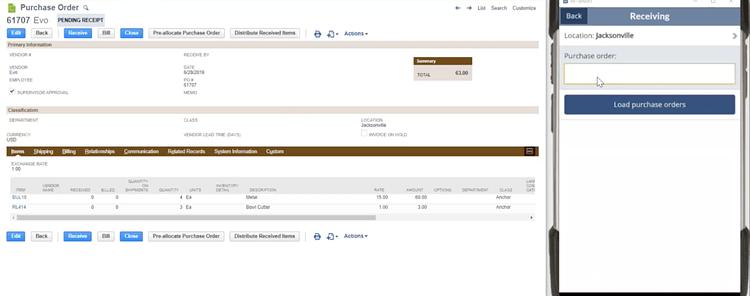 Receiving Purchase Order via Scanner
