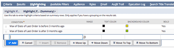 Configure Saved Search Highlight if…(Summary)