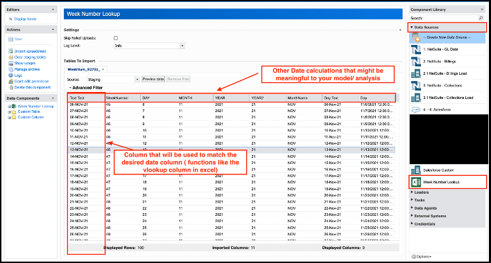 Adaptive- Design Integration-Create Spreadsheet data source to hold week number information