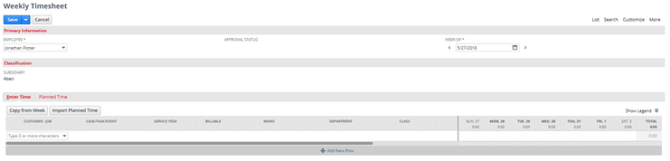 NetSuites' new timesheet user interface