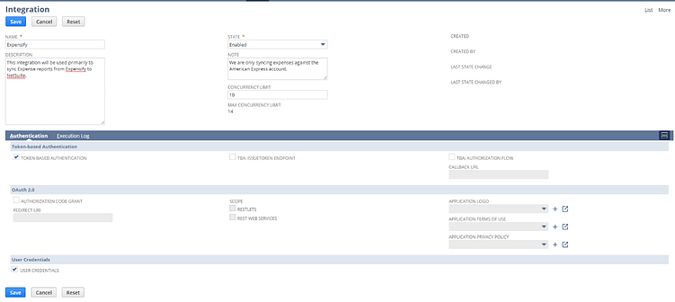 Creating NetSuite Integration Record