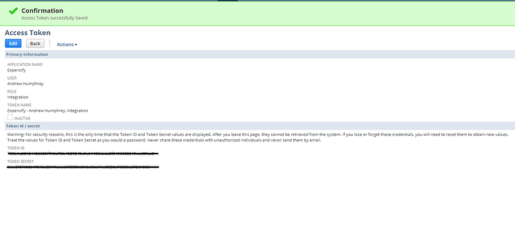 User Access Confirmation View