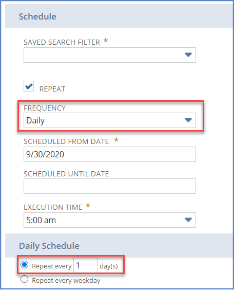 NetSuite workflow and search schedule